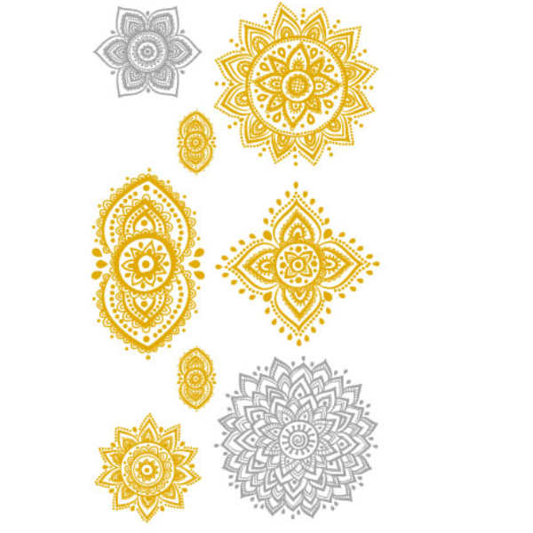 Gold & Silver Sun Temporary Tattoos