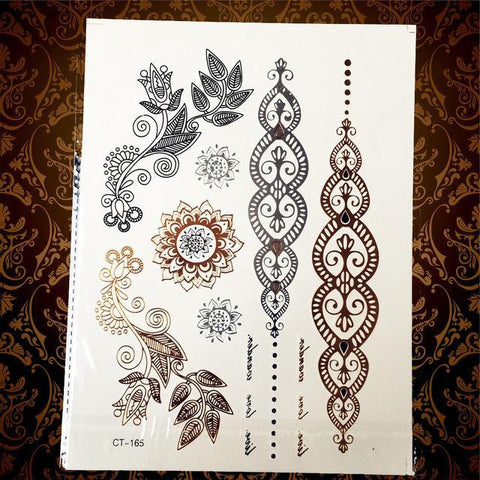 Gold and Silver Temporary Tattoos