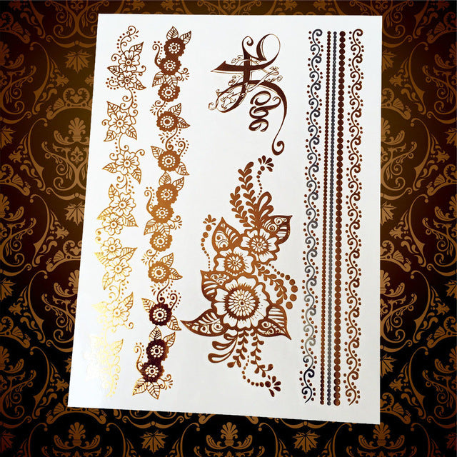 Golden Flower Temporary Tattoos