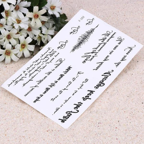 Temporary Tattoos Calligraphy Words