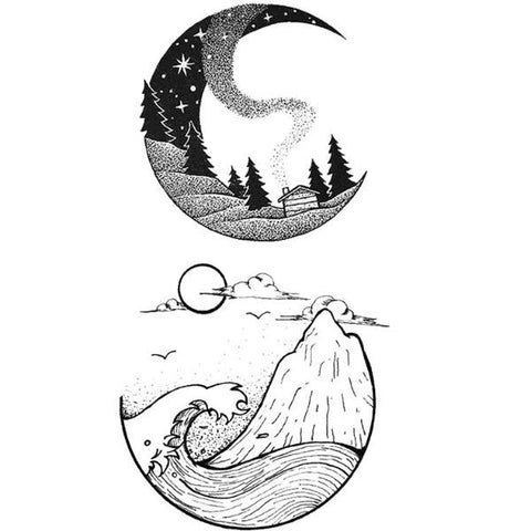 Mountain Moon Temporary Tattoos