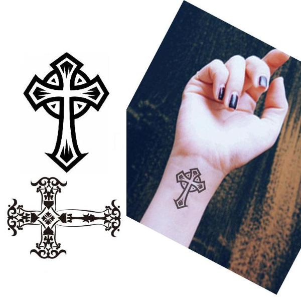 Cross Design Temporary Tattoos