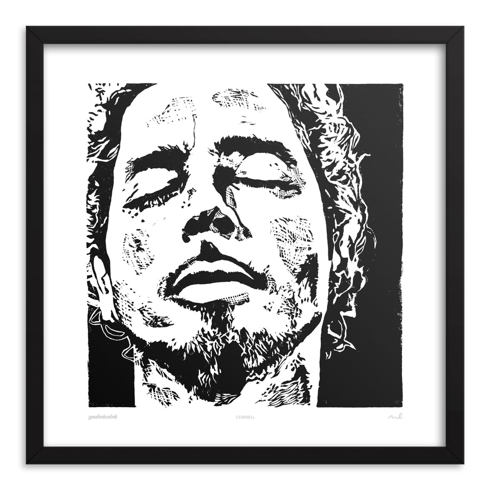 Chris Cornell Art Print Black Frame