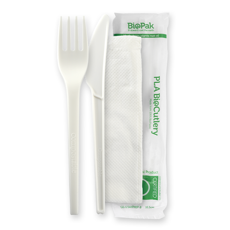 6.5 PLA Cutlery Set - Knife, Fork and Napkin (250 Piece)