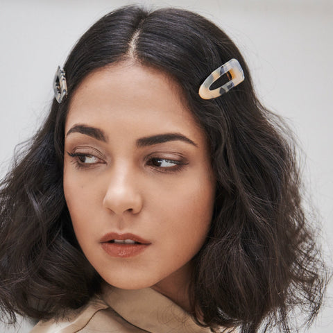 PAIR OF SUZZIE TEAR  HAIR CLIPS IN BEIGE