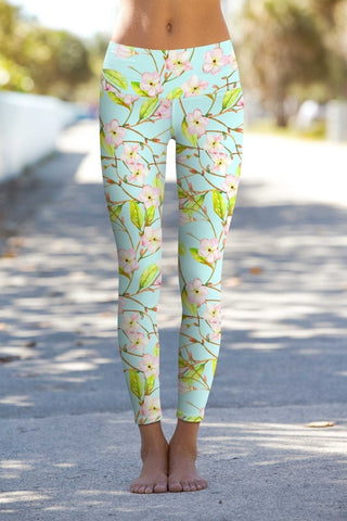 Muse Lucy Green Floral Print Performance Leggings