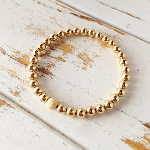 Beautiful 5mm Rose Gold Filled Bracelet with 6mm