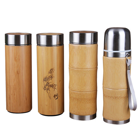 Bamboo Stainless Steel Thermos  Travel Coffee Cup