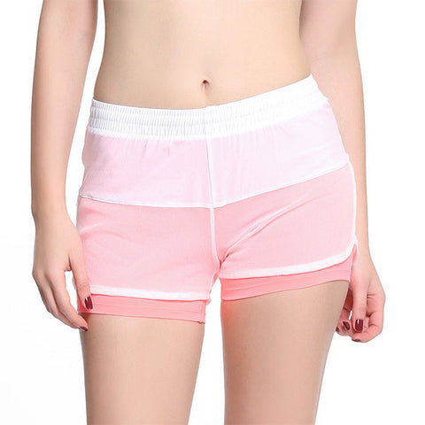 Running Shorts For Female Double Layers Elastic Waist Exercise Sports Shorts