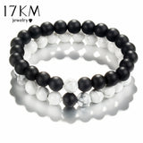 17KM Fashion Natural Stone Distance Bracelets For Women Men Classic Black and White Charm Beads Yoga Bracelet & Bangles Jewelry