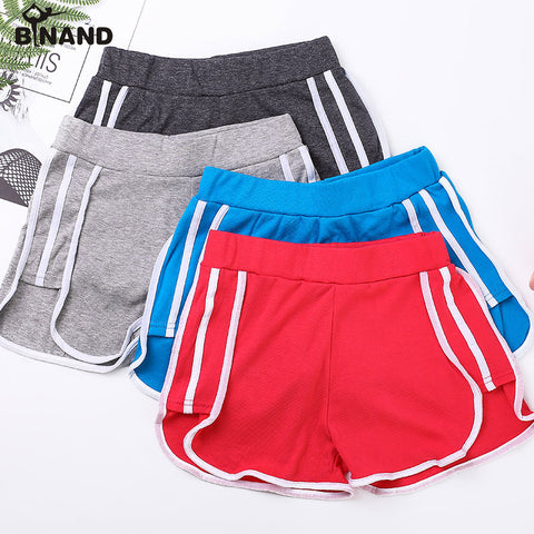 Elastic Waist Side Stripes Sports Shorts For Women