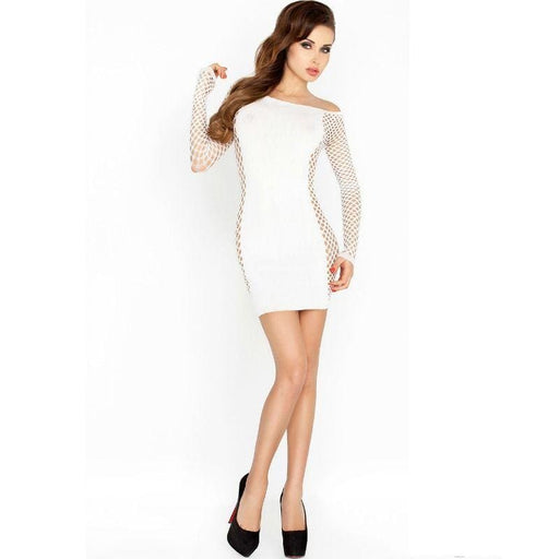 Bodystocking Passion Bs025 Estilo Vestido Blanco Talla Unica