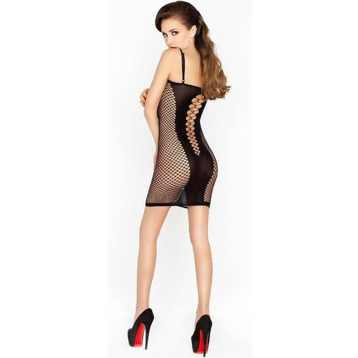 Bodystocking Passion Bs027 Estilo Vestido Negro Talla Unica
