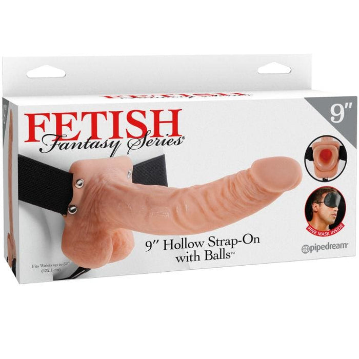Fetish fantasy series 9 hollow strap-on with balls 22.9cm natural