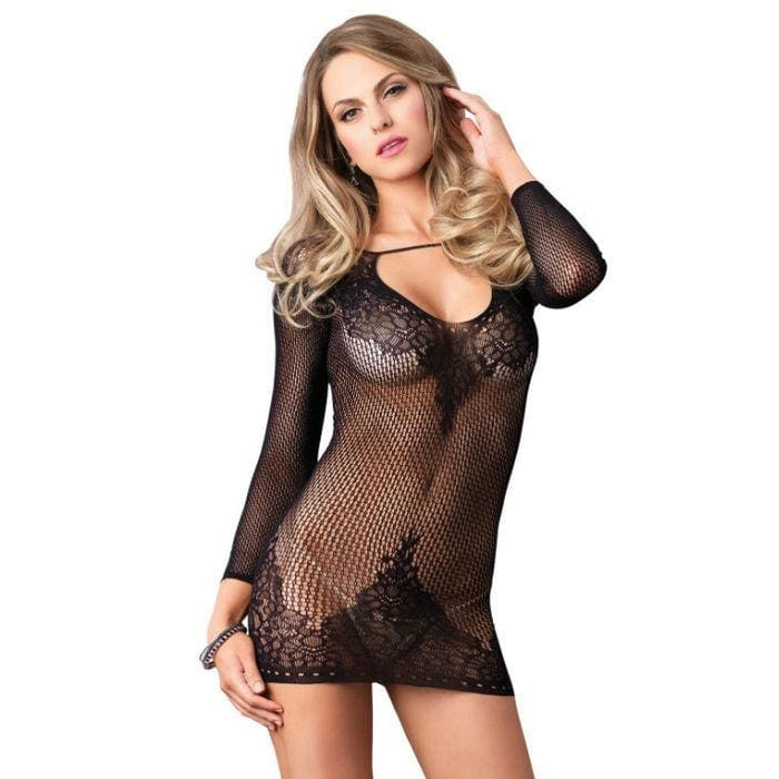 Leg avenue long sleeved mini dress negro