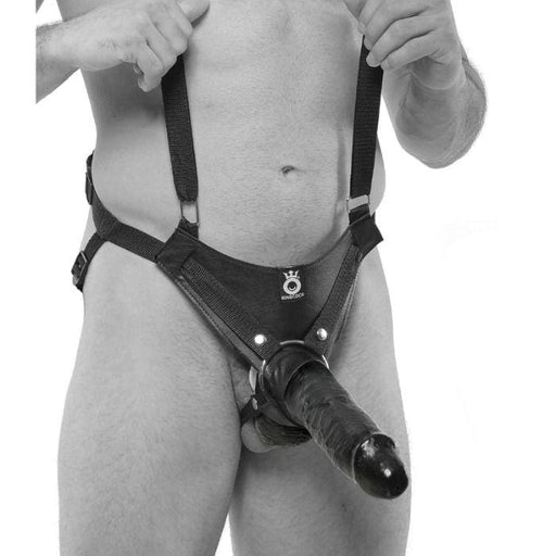Strap-on con dildo hueco 25.5 cm y tirantes color negro