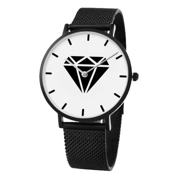 M.T.S. International Black Diamond Logo High-Quality Fashionable Premium Stainless Steel Black Wrist Watch