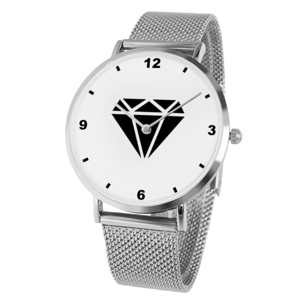 M.T.S. International Black Diamond Logo High-Quality Fashionable Premium Stainless Steel Silver Wrist Watch