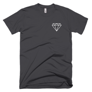 M.T.S. International White Diamond Logo Embroidered Premium Short-Sleeve Unisex T-Shirt