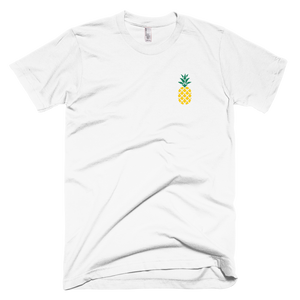 M.T.S. International Pineapple Art Embroidered Fashionable Design High-Quality Premium Short-Sleeve Unisex T-Shirt