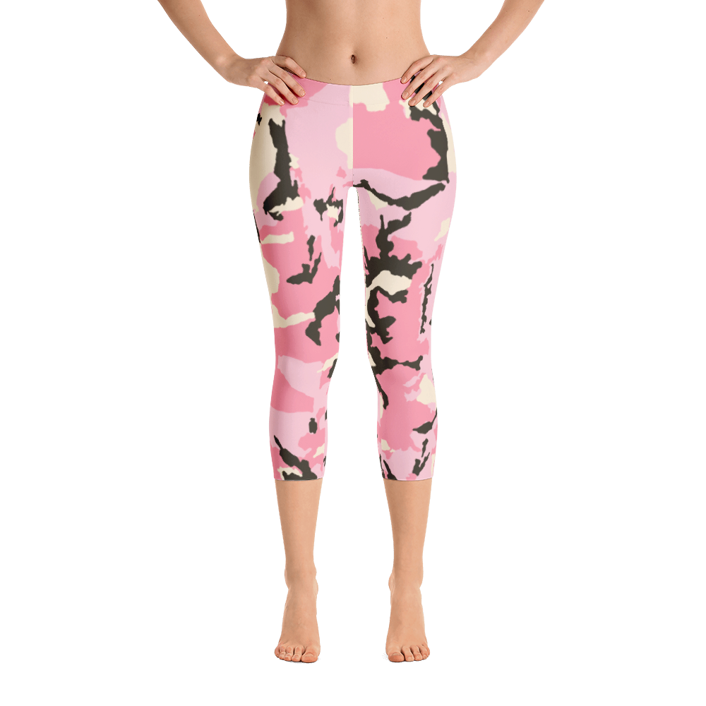 M.T.S. International Premium Quality Soft Comfortable Pink Camo Capri Leggings