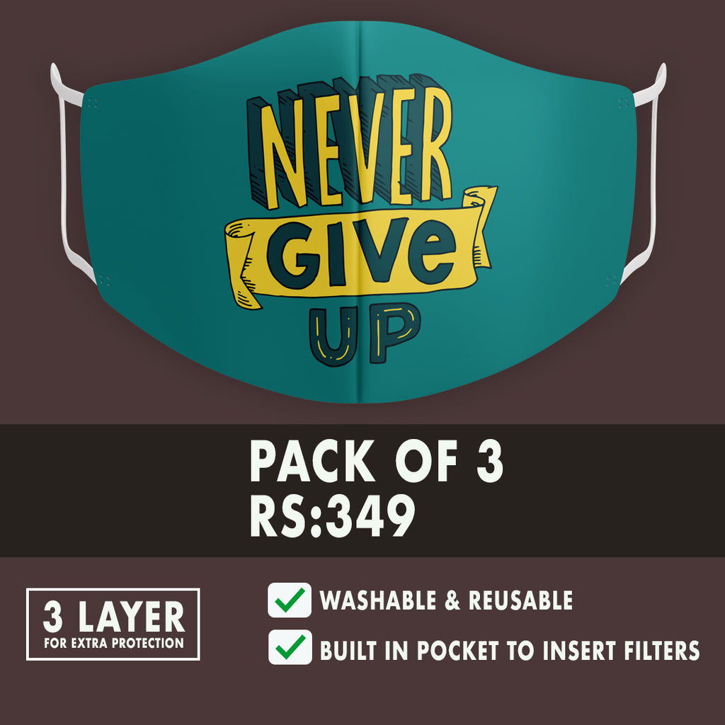 Never Give Up Premium Mask (Pack of 3 )