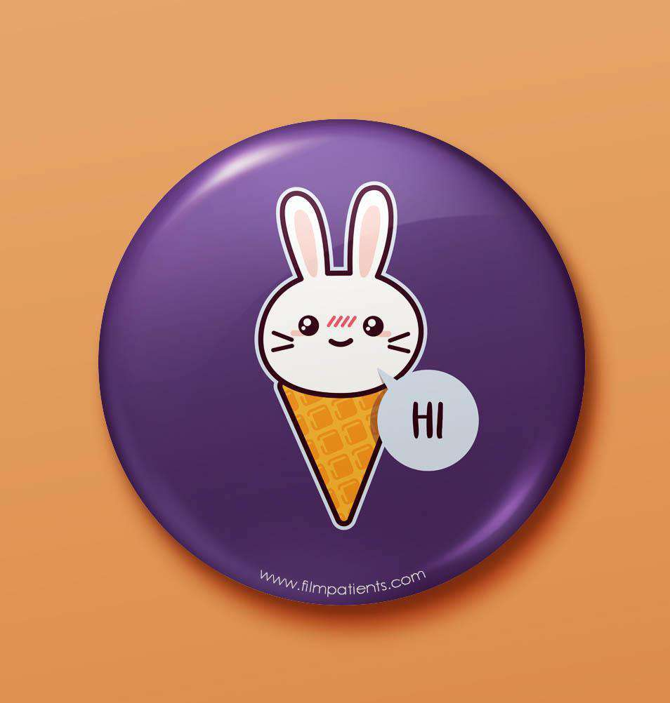 Buy Rabbit says Hi Button Badge Online | Film Patients