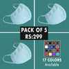 Plain Mask - Pack of 5 ( 17 Colors Available)