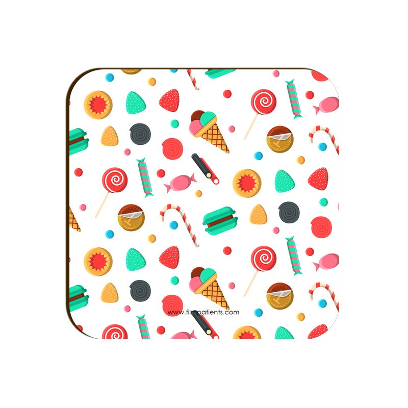 Candies and Ice Cream Pattern Coaster