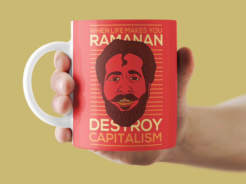 Ramanan destroys Capitalism Mug | Film Patients