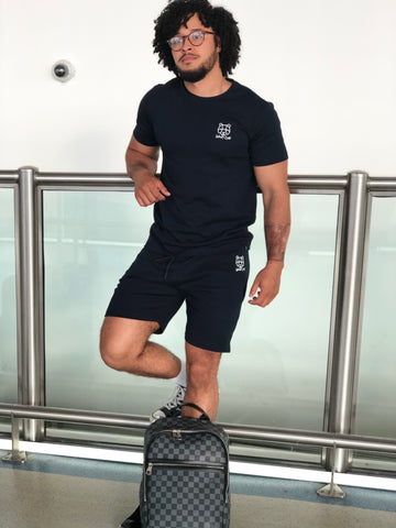 navy twinset shorts t-shirt combo