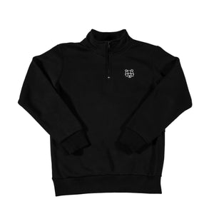 Storm Collection Fleece Lined 1/4 Zip Sweatshirt in Black