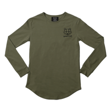 Long Sleeved Fitted 'Keeper' T-Shirt in Khaki