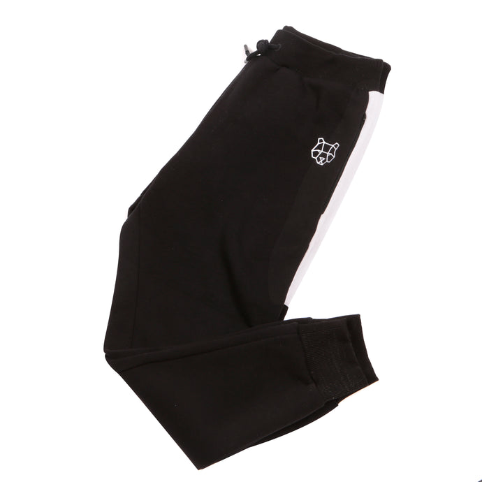 Childrens Black Fitted Tracksuit Bottoms with White Stripe