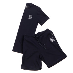 mens navy twinset t-shirt and short pyjama sets with zippers zip pockets