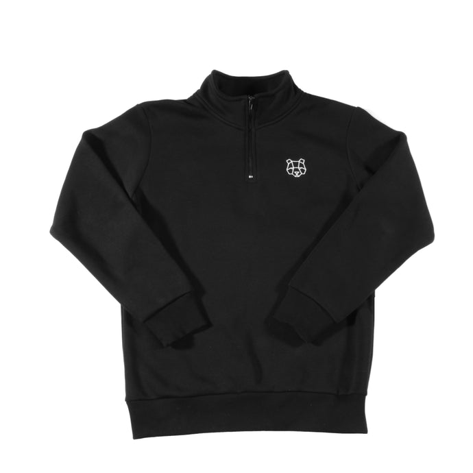 Storm Collection Fleece Lined 1/4 Zip Sweatshirt in Black (Juniors)