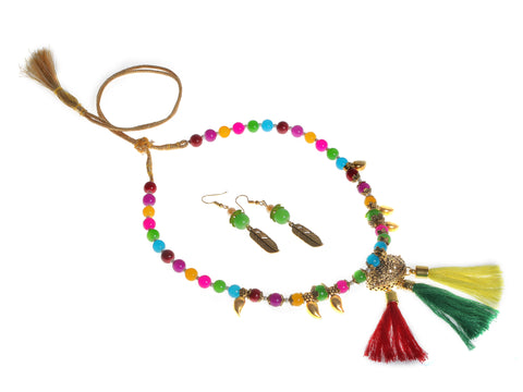 Indian Jewellery from Meira Jewellery:,Meira jewellery necklace with tassel and multi color beads