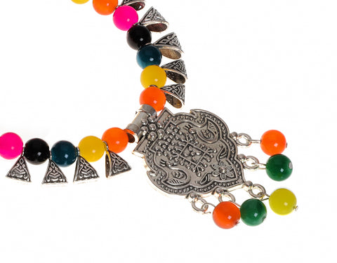 Indian Jewellery from Meira Jewellery:,Meira jewellery silver auxodized necklace with multi color beads for navratri