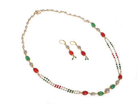 Indian Jewellery from Meira Jewellery:Necklace,Meira jewellery rajwada pearl double line strand with earrings