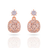 Solitaire Style Rose Gold Drop Earring