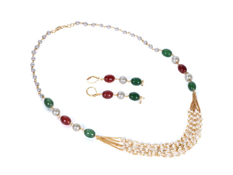 Indian Jewellery from Meira Jewellery:Necklace,Meira jewellery Rajwada pearl set with multi strand lines and earrings