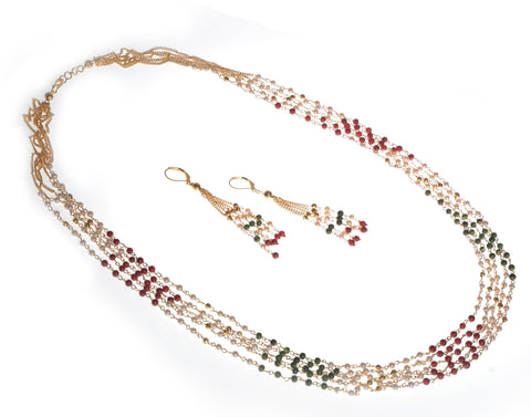 Meira jewellery long multi strand small pearl set.