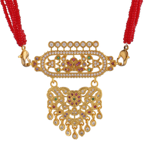 Rajasthani Rajputi Golden Micro Aad American Diamond multi strand for Women (Small Size) Red