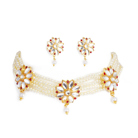 Eye Catchy White Marquise Diamond Rajputi Choker Set