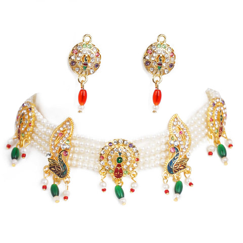 Lavish Peacock Shape Pendants Rajasthani Choker Set