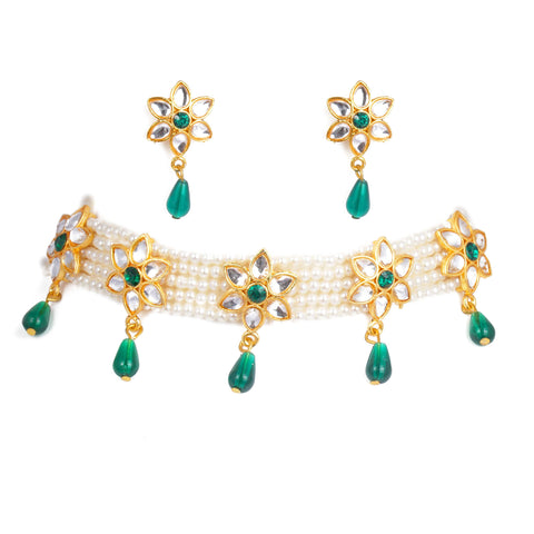 Fancy Blue color Kundan Work Rajputi Choker Set