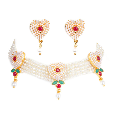 Heart Shape Red Rajputana Moti Choker Set