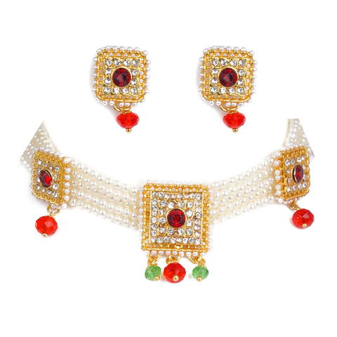 Rajputi Choker Set emblessed with American Diamond