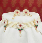 Round Shape Red Rajputana White Moti Choker Set