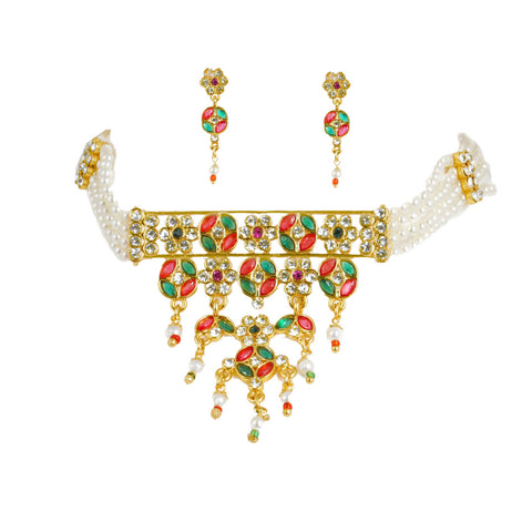 Padmavati Style Red and Pink Rajasthani Choker set